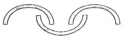 Сечение полос при навешивании полос ПВХ-завес в проемах